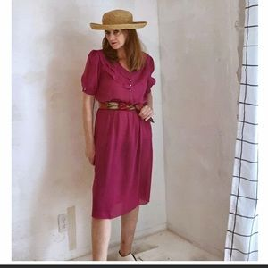 VTG 80s Day Dress by H & Y of California Pink Rose